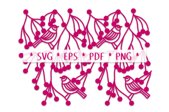 Hedgerow Birds Repeating Border SVG Cut Graphic Crafts By Nic Squirrell