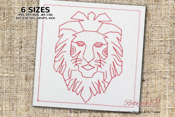 Leo Lion Horoschope Zodic Sign Redwork Religion & Faith Embroidery Design By Redwork101