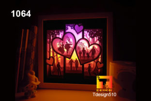 Love Story Paper Cut Light Box 3D Shadow Graphic 3D Shadow Box By Tdesign510