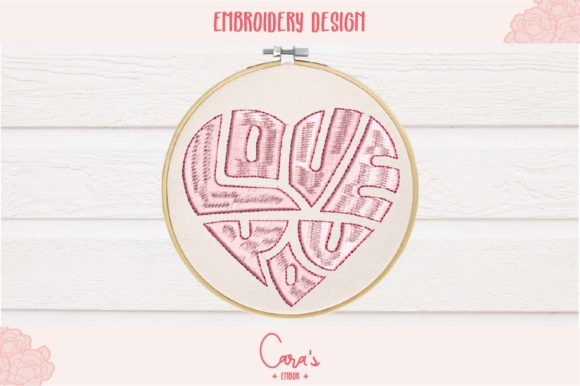 Love You Heart Shape Valentine's Day Embroidery Design By carasembor
