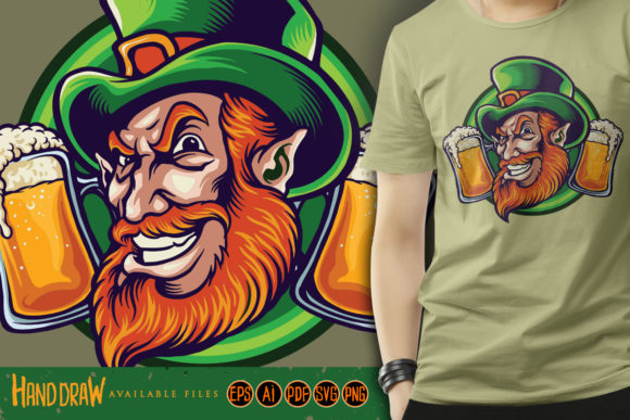 Print on Demand: Man with Beard and Mustache St Patrick's Graphic Illustrations By artgrarisstudio