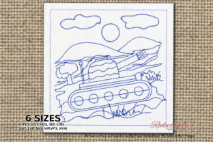Military Tank Treading on Rough Terrain Military Embroidery Design By Redwork101