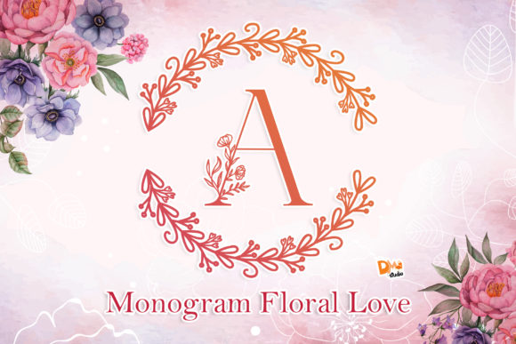 Print on Demand: Monogram Floral Love Decorative Font By dmletter31