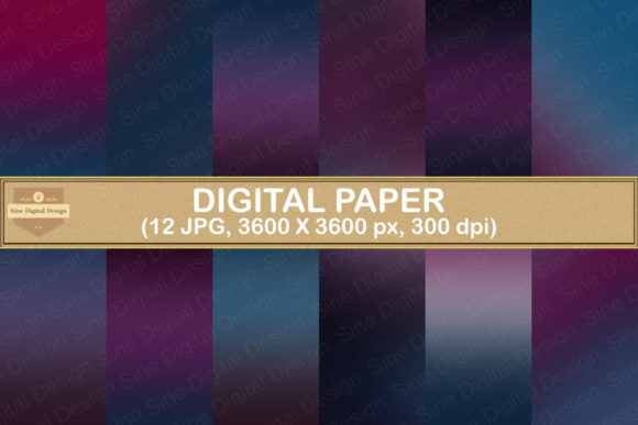 Print on Demand: Night Sky Ombre Gradient Digital Papers Graphic Backgrounds By SineDigitalDesign