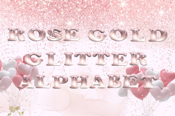 Print on Demand: Rose Gold Glitter Alphabet Clipart Graphic Illustrations By Andreea Eremia Design