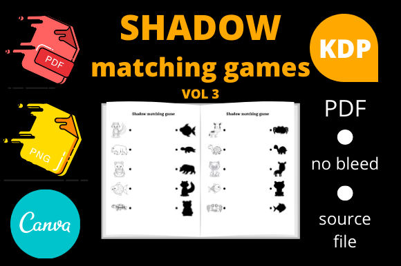 Print on Demand: Shadow Matching Games for Kids Volume 3 Graphic KDP Interiors By Dunkyshot