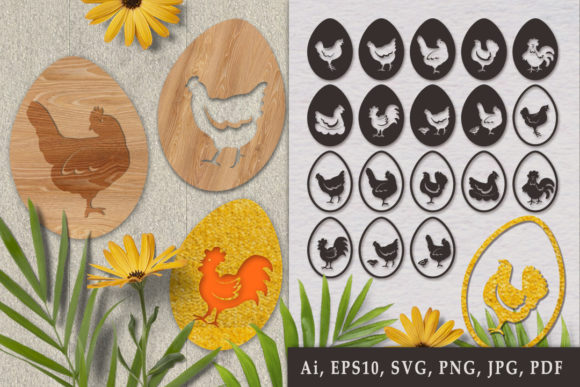 Print on Demand: Silhouettes of Hen on Eggs. SVG Graphic Crafts By Светлана Зиновьева