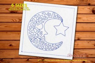 Sleeping Moon with Star Redwork Cities & Villages Embroidery Design By Redwork101