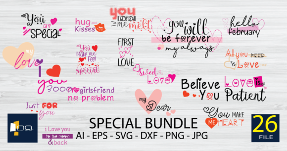 Print on Demand: Special Valentines Day Quotes Bundle  By Na Punya Studio