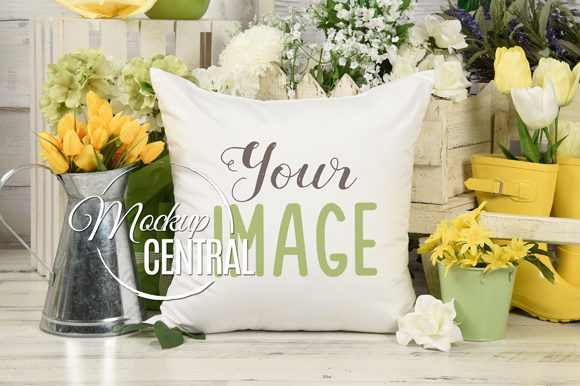 Spring Garden Flower Pillow Mockup Graphic Product Mockups By Mockup Central