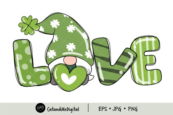 St Patricks Day Love Gnome Girl Clipart. Graphic Illustrations By CatAndMe
