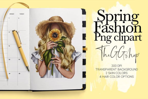 Print on Demand: Sunflower Spring Girl Clipart Gráfico Ilustraciones Por TheGGShop