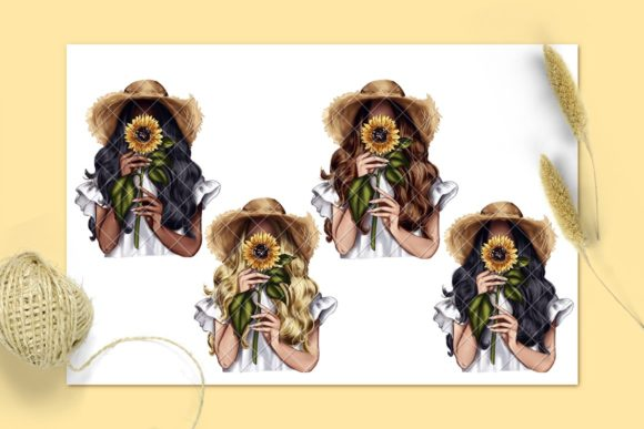 Sunflower Spring Girl Clipart Graphic Download