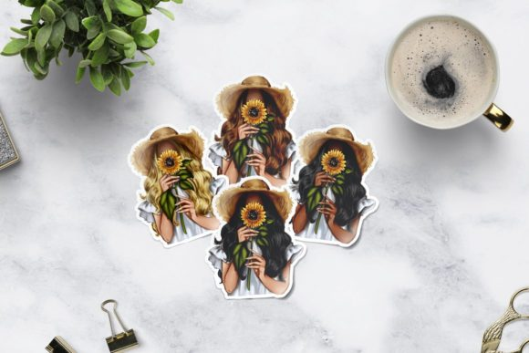 Sunflower Spring Girl Clipart Graphic Preview