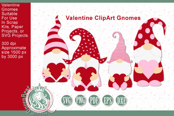 Print on Demand: Valentine ClipArt Gnomes SVG Bundle Graphic Illustrations By QueenBrat Digital Designs