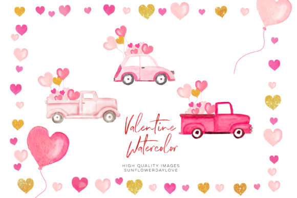 Print on Demand: Valentine Clipart, Pink and Gold Heart Graphic Illustrations By SunflowerLove
