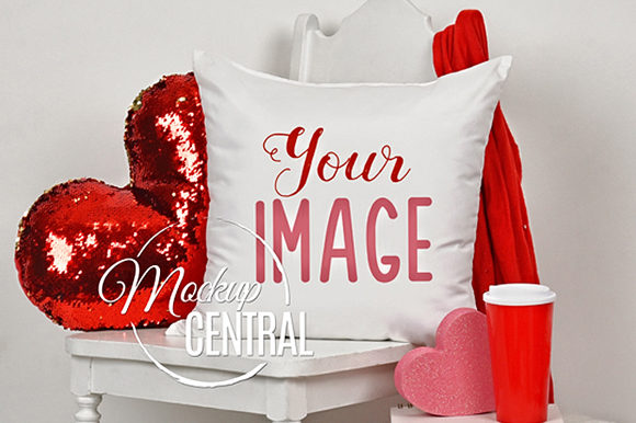 Valentine's Day Square Pillow Mockup JPG Graphic Product Mockups By Mockup Central