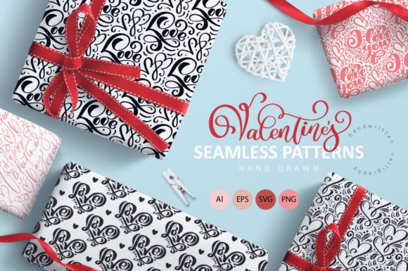 Valentine`s Hand Drawn Seamless Patterns Graphic Patterns By Happy Letters