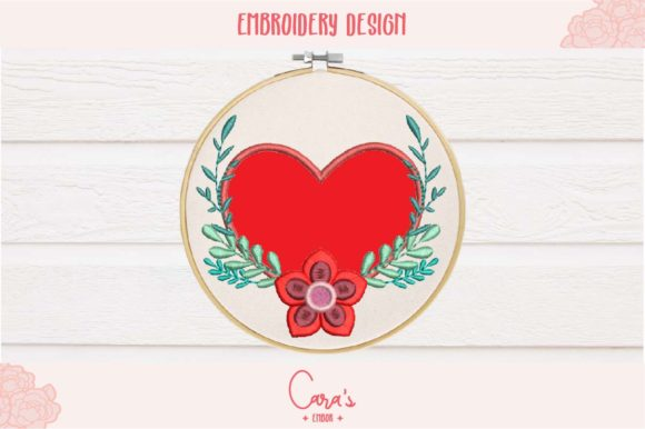 Valentines Heart Aplique Embroidery