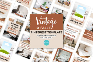 Print on Demand: Vintage X Fall Canva Pinterest Template Graphic Presentation Templates By SnapyBiz