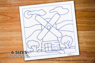 Windmill Scenery Machine Cities & Villages Embroidery Design By Redwork101