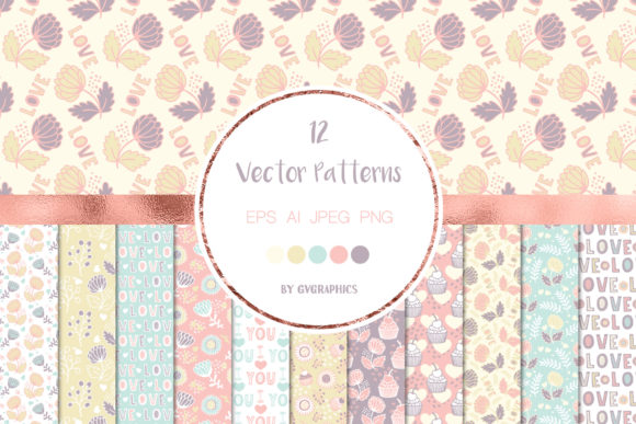 12 Happy Valentine's Day Patterns Graphic Patterns By GVGraphics