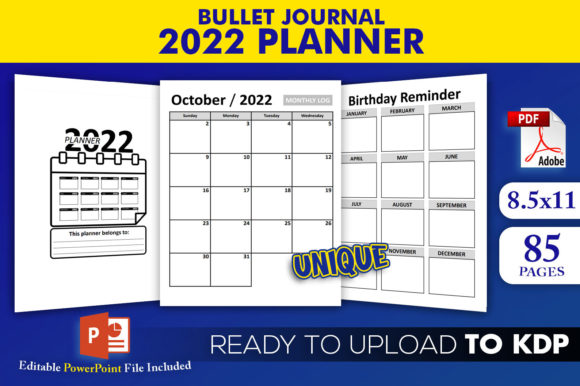 Print on Demand: 2022 Planner Bullet Journal KDP Interior Graphic KDP Interiors By Beast Designer