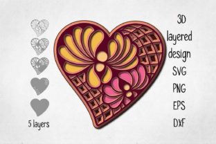 Print on Demand: 3D Layered Heart Graphic 3D Shapes By Eva Barabasne Olasz
