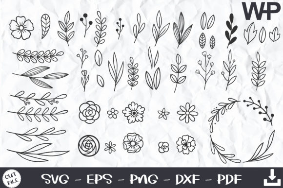 51 Hand Drawn Leaves and Floral SVG Graphic Print Templates By wanchana365