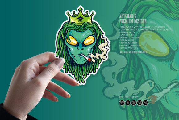 Print on Demand: Alien Dreadlock King, Weed Smoke Graphic Illustrations By artgrarisstudio