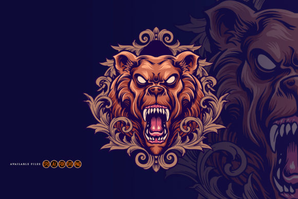 Print on Demand: Angry Bear Mascot with Ornaments Graphic Illustrations By artgrarisstudio