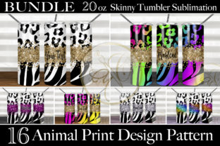 Animal Print Holographic Skinny Tumbler Graphic Print Templates By paperart.bymc