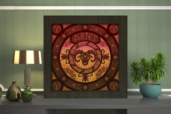 Print on Demand: Aries Zodiac Light Box Shadow Box Graphic 3D Shadow Box By LightBoxGoodMan