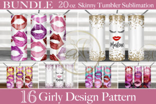 BUNDLE Girly Skinny Tumbler Sublimation Graphic Print Templates By paperart.bymc