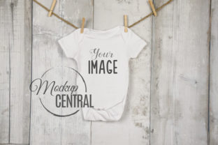 Baby Onepiece White Bodysuit Clothesline Graphic Product Mockups By Mockup Central