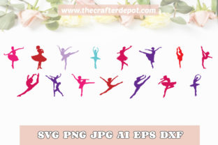 Ballerina Bundle Ballet SVG DXF PNG JPEG Graphic Print Templates By TheCrafterDepot