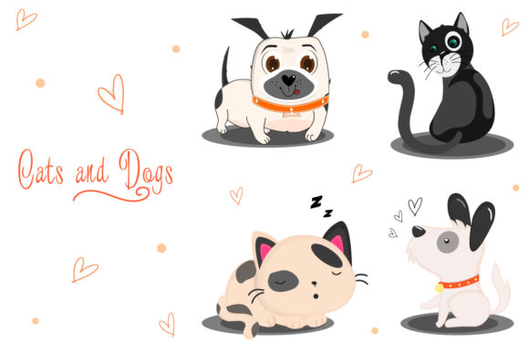 Cats and Dogs Clipart Graphic Illustrations By Sergey360