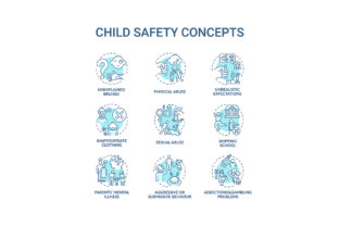 Print on Demand: Child Safety Turquoise Concept Icons Set Graphic Icons By bsd studio