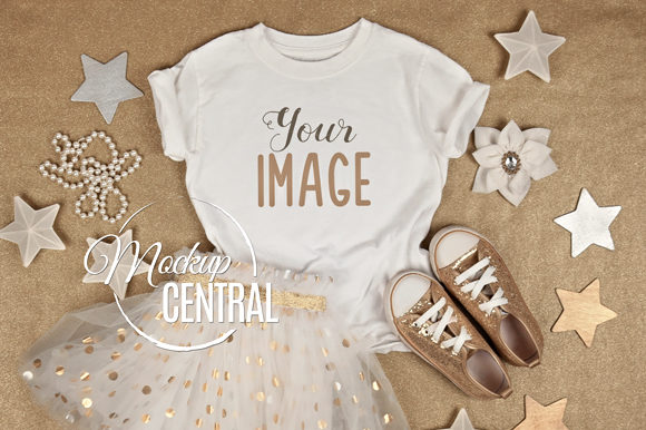 Cute Girls White T-Shirt Mockup Flatlay Graphic Product Mockups By Mockup Central