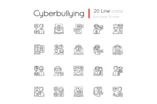 Print on Demand: Cyberbullying Linear Icons Set Graphic Icons By bsd studio