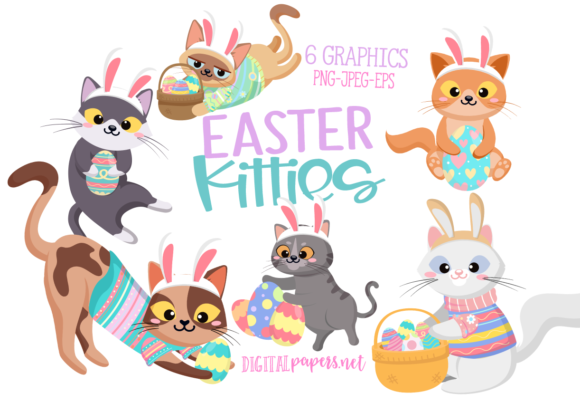Print on Demand: Easter Kitties Clipart Set Graphic Illustrations By DigitalPapers