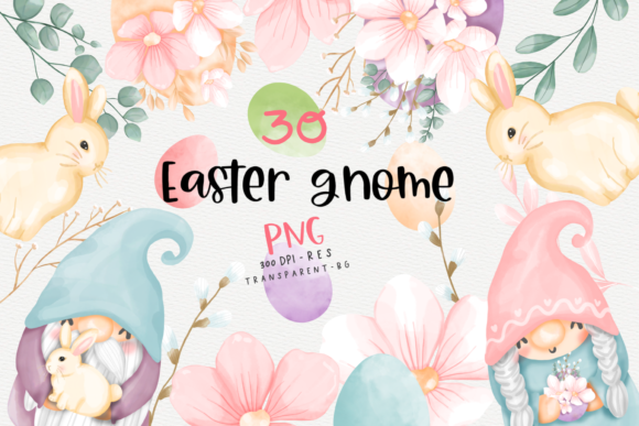 Easter Bunny Gnome Clipart, Gnome Easter Graphic Crafts By Chonnieartwork