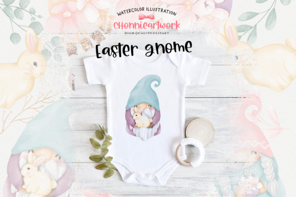 Easter Bunny Gnome Clipart, Gnome Easter Graphic Item