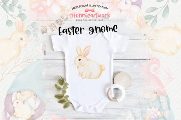 Easter Bunny Gnome Clipart, Gnome Easter Graphic Design
