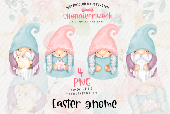 Easter Bunny Gnome Clipart, Gnome Easter Graphic Image