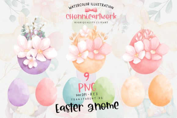Easter Bunny Gnome Clipart, Gnome Easter Graphic Design Item