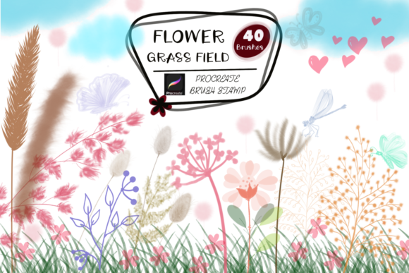 FLOWER GRASS FIELD Procreate Brush Stamp Graphic Brushes By tanvara544