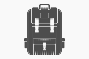Flat Monochrome Style School Backpack Graphic Objects By faqeeh