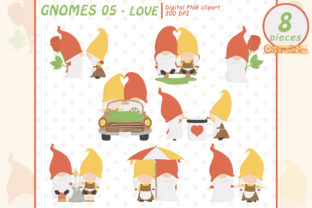 GNOMES in LOVE Clipart, Romantic, Couple Graphic Illustrations By clipartfables