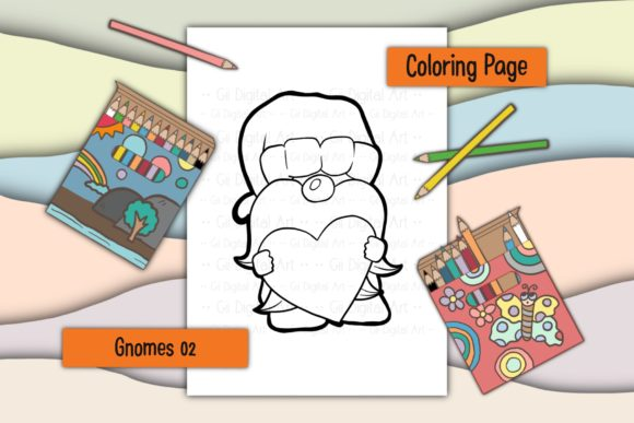 Print on Demand: Gnomes 02 Valentines Day Graphic Coloring Pages & Books Kids By Gii Digital Art